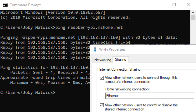 Internet Connection Sharing on Windows 10 for Raspberry Pi